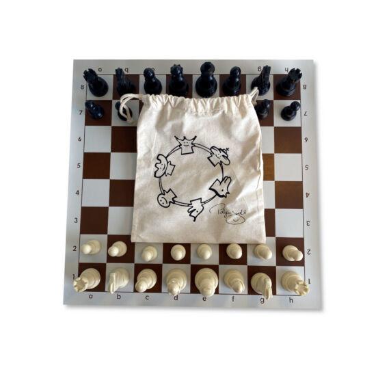 Sakkpalota sakk készlet barna-fehér vászontáblával