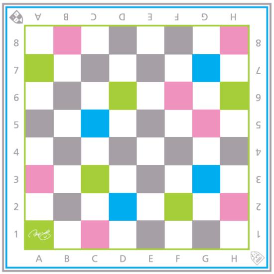 Sakkpalota sakkszőnyeg színes mezőkkel