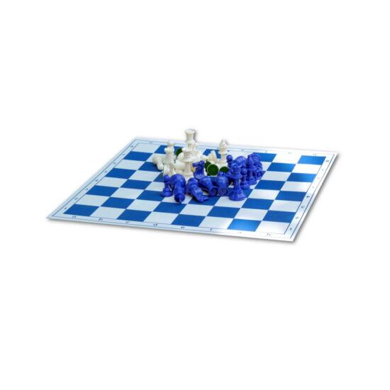 Kék sakktábla kék figurákkal
